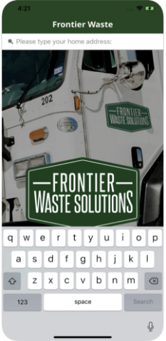 frontier app on a cell phone for municipal waste services