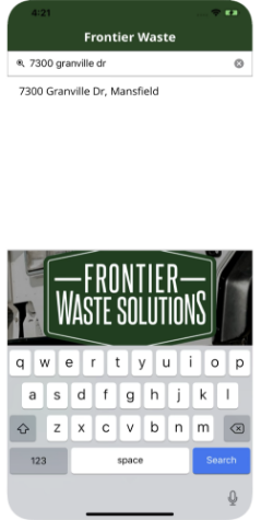 Frontier app on a cell phone fits all screen sizes for residents in a municipality