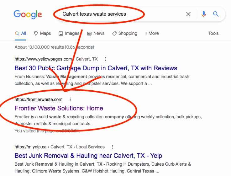 """A search for Calvert Texas waste services shows Frontier in the #2 position-which answers the question """"Who is my trash company"""""""