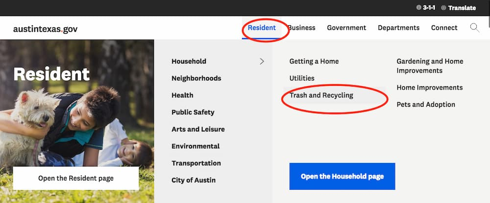 Official city of Austin website lists who picks up trash in the Austin area