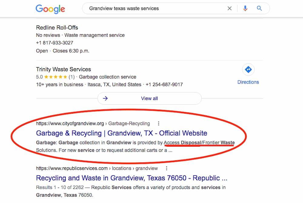 """To find """"who picks up garbage in my area"""" search for your city+texas waste services like in this example for Grandview"""