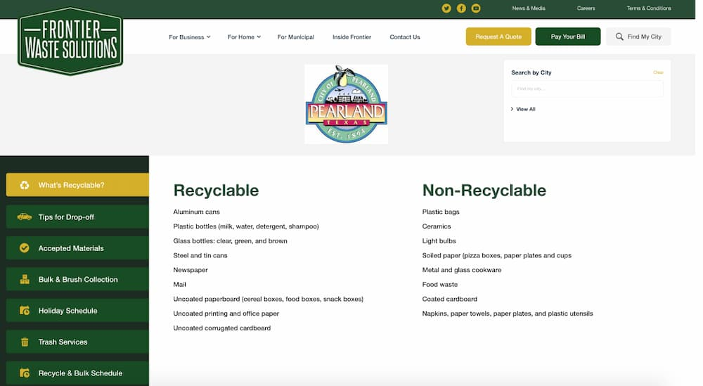 City of Pearland Municipal information page on trash and recycling program